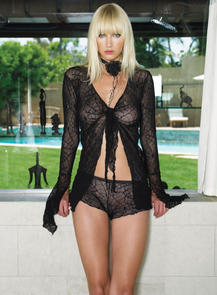 126 8533 Spider Web Lace Top Amp French Knickers Black Long